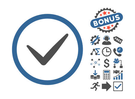 valid: Valid icon with bonus icon set. Vector illustration style is flat iconic bicolor symbols, cobalt and gray colors, white background. Illustration