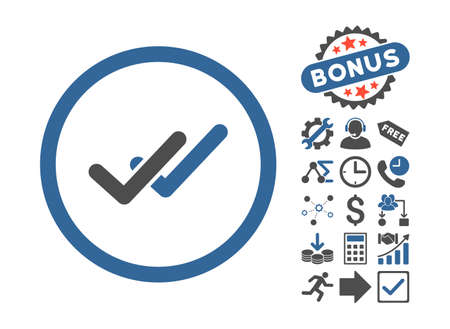 validation: Validation pictograph with bonus pictograph collection. Vector illustration style is flat iconic bicolor symbols, cobalt and gray colors, white background.