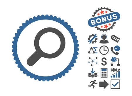 cobalt: View icon with bonus design elements. Vector illustration style is flat iconic bicolor symbols, cobalt and gray colors, white background.