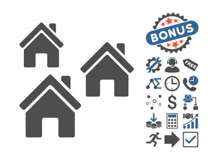 suburban street: Village Buildings pictograph with bonus design elements. Vector illustration style is flat iconic bicolor symbols, cobalt and gray colors, white background.
