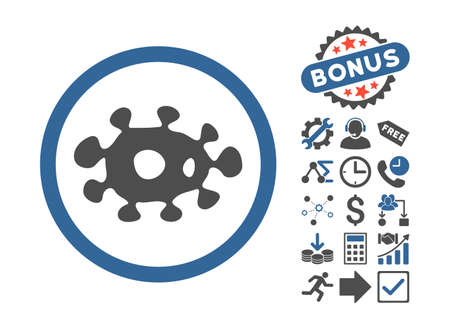 awful: Virus pictograph with bonus clip art. Vector illustration style is flat iconic bicolor symbols, cobalt and gray colors, white background.