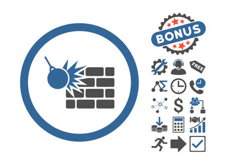 impact tool: Wall Destruction icon with bonus elements. Vector illustration style is flat iconic bicolor symbols, cobalt and gray colors, white background.