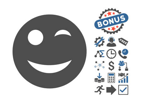 glad: Wink icon with bonus design elements. Vector illustration style is flat iconic bicolor symbols, cobalt and gray colors, white background.