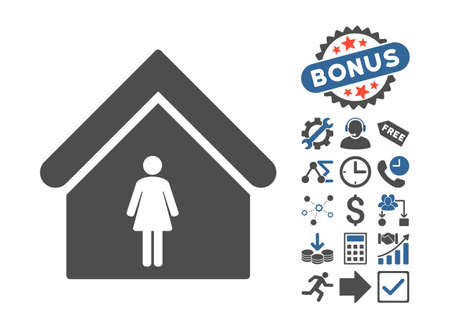 cobalt: Woman Toilet icon with bonus symbols. Vector illustration style is flat iconic bicolor symbols, cobalt and gray colors, white background.