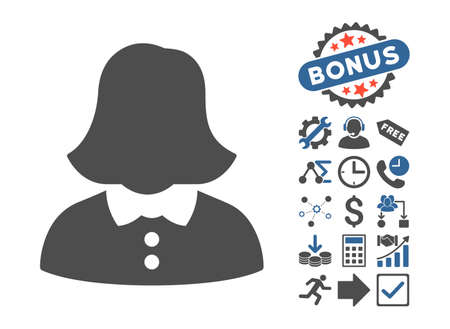 Woman pictograph with bonus elements. Vector illustration style is flat iconic bicolor symbols, cobalt and gray colors, white background.