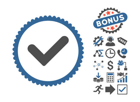 Yes pictograph with bonus pictograph collection. Vector illustration style is flat iconic bicolor symbols, cobalt and gray colors, white background.