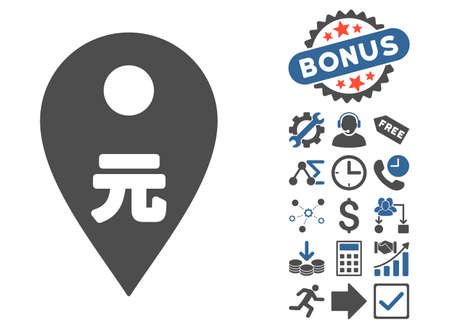 renminbi: Yuan Map Marker pictograph with bonus symbols. Vector illustration style is flat iconic bicolor symbols, cobalt and gray colors, white background. Illustration