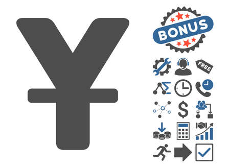 yuan: Yuan pictograph with bonus images. Vector illustration style is flat iconic bicolor symbols, cobalt and gray colors, white background.
