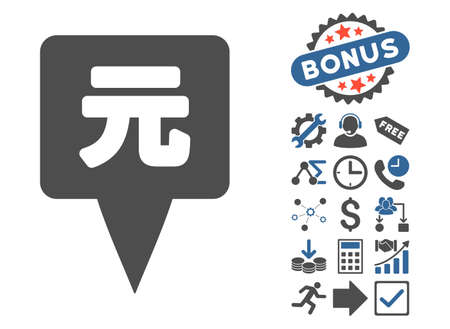 coordinates: Yuan Map Pointer pictograph with bonus icon set. Vector illustration style is flat iconic bicolor symbols, cobalt and gray colors, white background. Illustration