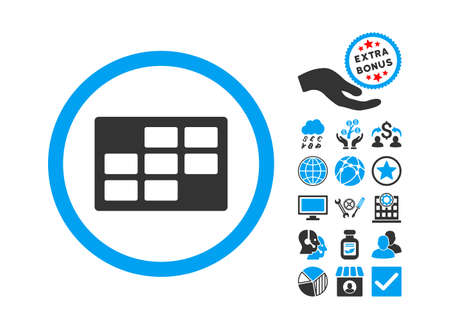 dataset: Calendar Table icon with bonus design elements. Vector illustration style is flat iconic bicolor symbols, blue and gray colors, white background.