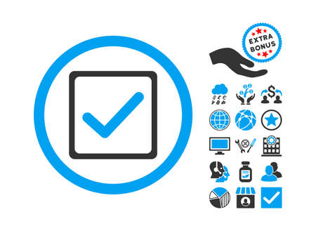 Checkbox icon with bonus elements. Vector illustration style is flat iconic bicolor symbols, blue and gray colors, white background. Illustration