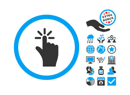 vote here: Click pictograph with bonus pictogram. Vector illustration style is flat iconic bicolor symbols, blue and gray colors, white background.