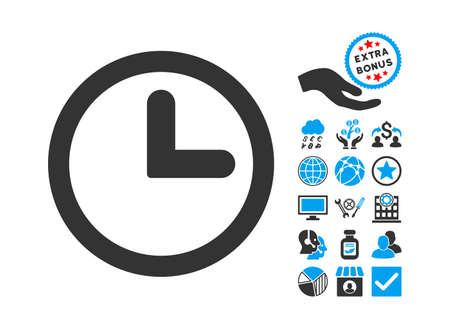 clockface: Clock icon with bonus images. Vector illustration style is flat iconic bicolor symbols, blue and gray colors, white background.