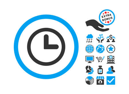 clockface: Clock icon with bonus pictograph collection. Vector illustration style is flat iconic bicolor symbols, blue and gray colors, white background.