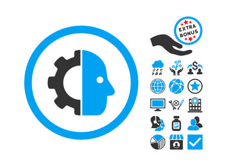 config: Cyborg icon with bonus pictures. Vector illustration style is flat iconic bicolor symbols, blue and gray colors, white background. Illustration