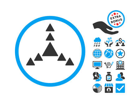 big size: Direction Triangles icon with bonus elements. Vector illustration style is flat iconic bicolor symbols, blue and gray colors, white background.