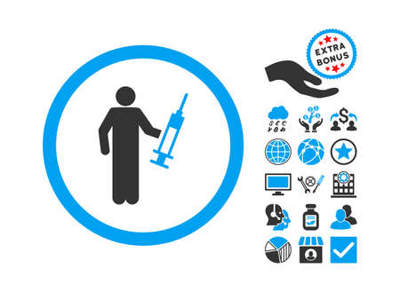 Drug Dealer pictograph with bonus pictograph collection. Vector illustration style is flat iconic bicolor symbols, blue and gray colors, white background.