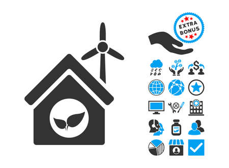 Eco House Building pictograph with bonus pictograph collection. Vector illustration style is flat iconic bicolor symbols, blue and gray colors, white background. Illustration