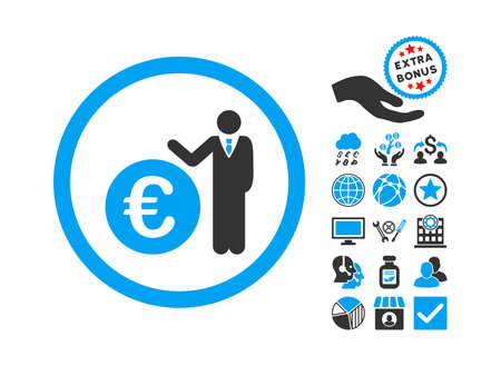 Euro Economist pictograph with bonus images. Vector illustration style is flat iconic bicolor symbols, blue and gray colors, white background. Illustration