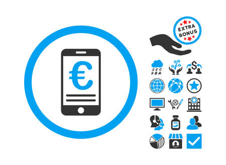 bank account: Euro Mobile Bank Account icon with bonus icon set. Vector illustration style is flat iconic bicolor symbols, blue and gray colors, white background. Illustration