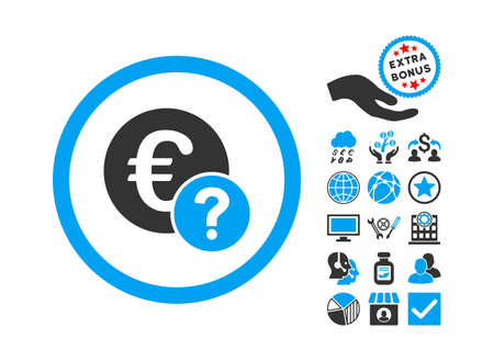 status icon: Euro Status icon with bonus design elements. Vector illustration style is flat iconic bicolor symbols, blue and gray colors, white background. Illustration