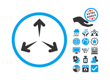 Expand Arrows pictograph with bonus pictures. Vector illustration style is flat iconic bicolor symbols, blue and gray colors, white background.