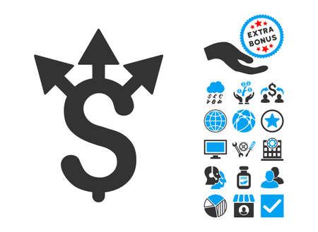 dollar icon: Expences pictograph with bonus icon set. Vector illustration style is flat iconic bicolor symbols, blue and gray colors, white background. Illustration