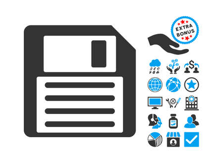 Floppy icon with bonus design elements. Vector illustration style is flat iconic bicolor symbols, blue and gray colors, white background.