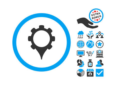 center position: GPS Settings pictograph with bonus design elements. Vector illustration style is flat iconic bicolor symbols, blue and gray colors, white background. Illustration