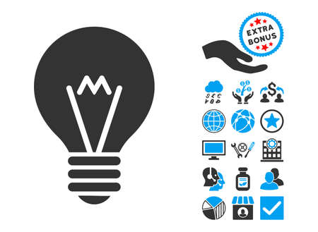 hint: Hint Bulb pictograph with bonus design elements. Vector illustration style is flat iconic bicolor symbols, blue and gray colors, white background.