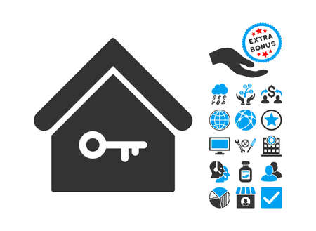 secured property: Home Key pictograph with bonus elements. Vector illustration style is flat iconic bicolor symbols, blue and gray colors, white background.