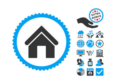 Home pictograph with bonus icon set. Vector illustration style is flat iconic bicolor symbols, blue and gray colors, white background.