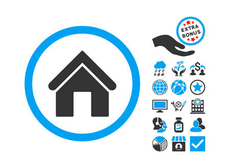 Home pictograph with bonus clip art. Vector illustration style is flat iconic bicolor symbols, blue and gray colors, white background.