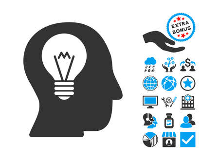 intellect: Intellect Bulb pictograph with bonus pictograph collection. Vector illustration style is flat iconic bicolor symbols, blue and gray colors, white background.