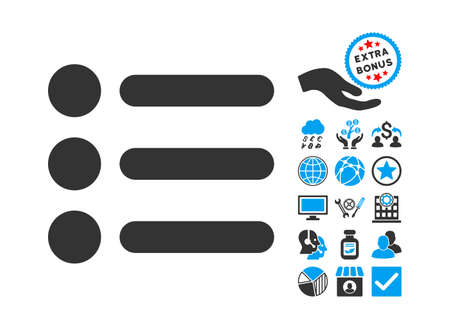item list: Items icon with bonus icon set. Vector illustration style is flat iconic bicolor symbols, blue and gray colors, white background.
