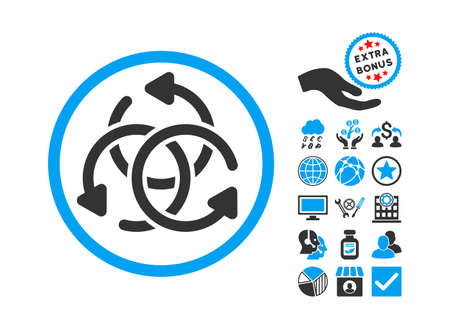synchronize: Knot Rotation icon with bonus pictogram. Vector illustration style is flat iconic bicolor symbols, blue and gray colors, white background.