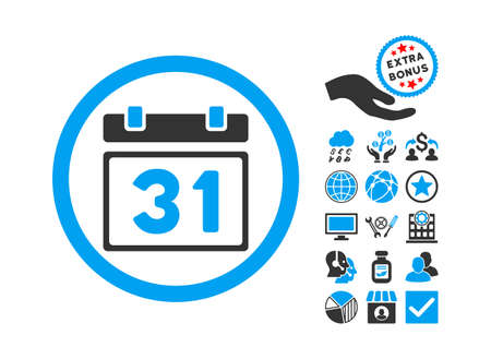 first form: Last Month Day pictograph with bonus images. Vector illustration style is flat iconic bicolor symbols, blue and gray colors, white background.