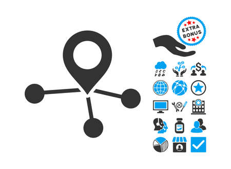 locations: Locations icon with bonus pictures. Vector illustration style is flat iconic bicolor symbols, blue and gray colors, white background.
