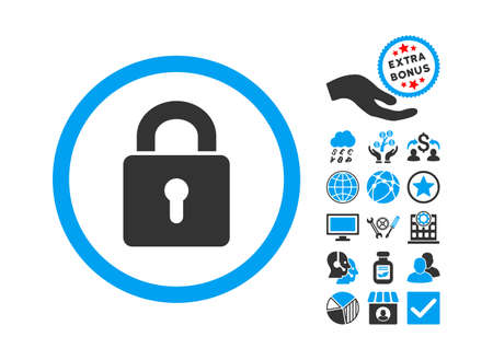 registry: Lock Keyhole pictograph with bonus symbols. Vector illustration style is flat iconic bicolor symbols, blue and gray colors, white background.