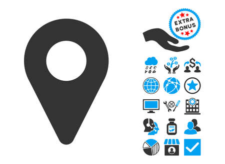 map marker: Map Marker icon with bonus pictograph collection. Vector illustration style is flat iconic bicolor symbols, blue and gray colors, white background.