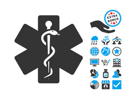 medical emblem: Medical Emblem pictograph with bonus pictograph collection. Vector illustration style is flat iconic bicolor symbols, blue and gray colors, white background.