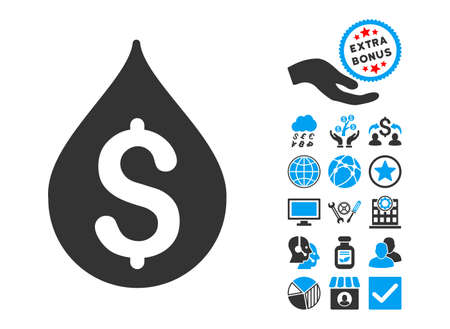 lubricate: Money Drop icon with bonus images. Vector illustration style is flat iconic bicolor symbols, blue and gray colors, white background.