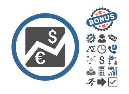 stockmarket chart: Euro Dollar Chart icon with bonus pictograph collection. Vector illustration style is flat iconic bicolor symbols, cobalt and gray colors, white background.