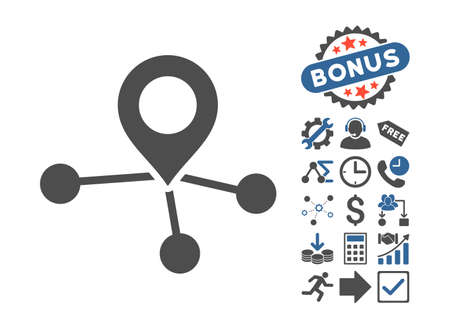Locations pictograph with bonus pictograph collection. Vector illustration style is flat iconic bicolor symbols, cobalt and gray colors, white background. Illustration