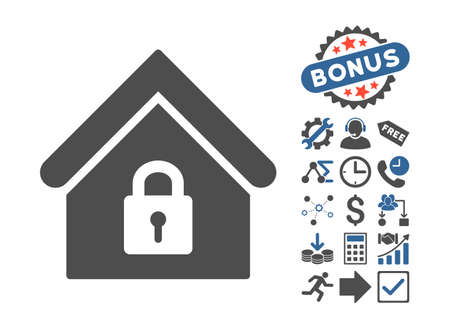 secured property: Lock Building pictograph with bonus pictogram. Vector illustration style is flat iconic bicolor symbols, cobalt and gray colors, white background.
