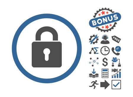 registry: Lock Keyhole pictograph with bonus design elements. Vector illustration style is flat iconic bicolor symbols, cobalt and gray colors, white background. Illustration
