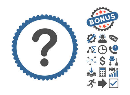 inquire: Question icon with bonus pictures. Vector illustration style is flat iconic bicolor symbols, cobalt and gray colors, white background.