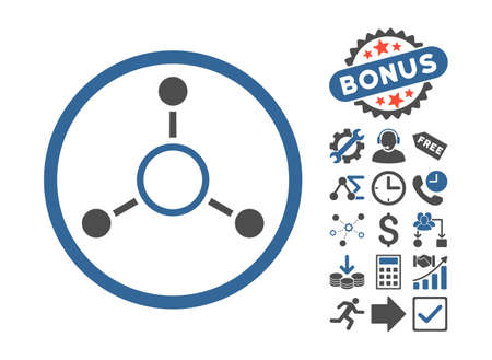 quark: Radial Structure icon with bonus pictures. Vector illustration style is flat iconic bicolor symbols, cobalt and gray colors, white background.