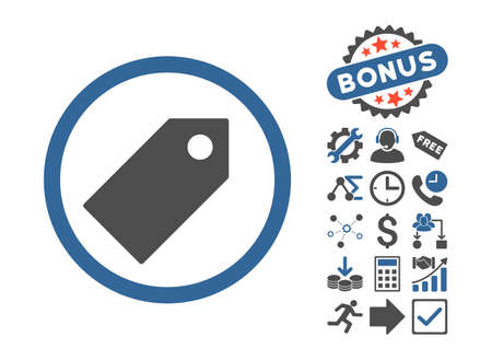 entity: Tag icon with bonus icon set. Vector illustration style is flat iconic bicolor symbols, cobalt and gray colors, white background.