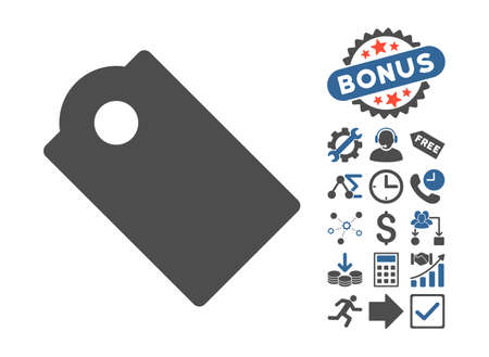 Tag pictograph with bonus images. Vector illustration style is flat iconic bicolor symbols, cobalt and gray colors, white background. Illustration